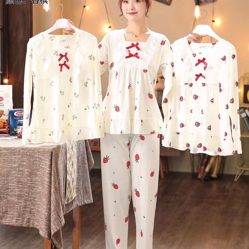 洋气可爱公主套装,草莓印花蝴蝶结花边方领长袖睡衣,女春秋睡裤可外穿家居服
