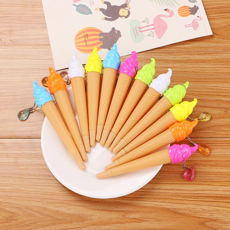 可爱冰淇淋吊坠中性笔 创意学生文具挂件水笔 优质办公黑色签字笔