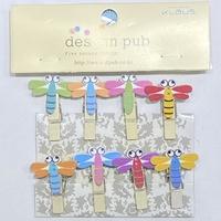 10个装蜻蜓木质小夹子小木夹家居日用照片夹卡通相片夹麻绳套装