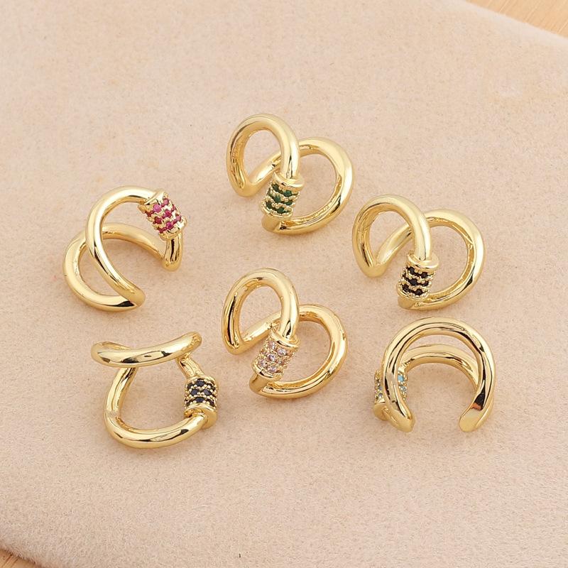 欧美外贸速卖通微镶锆石电镀真金女式耳夹简约气质款多色可选耳饰