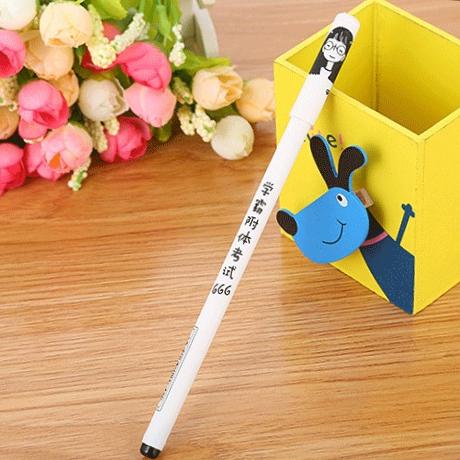 创意文具带字手绘人物学霸附体考试中性笔学生趣味文字水笔签字笔厂家直销