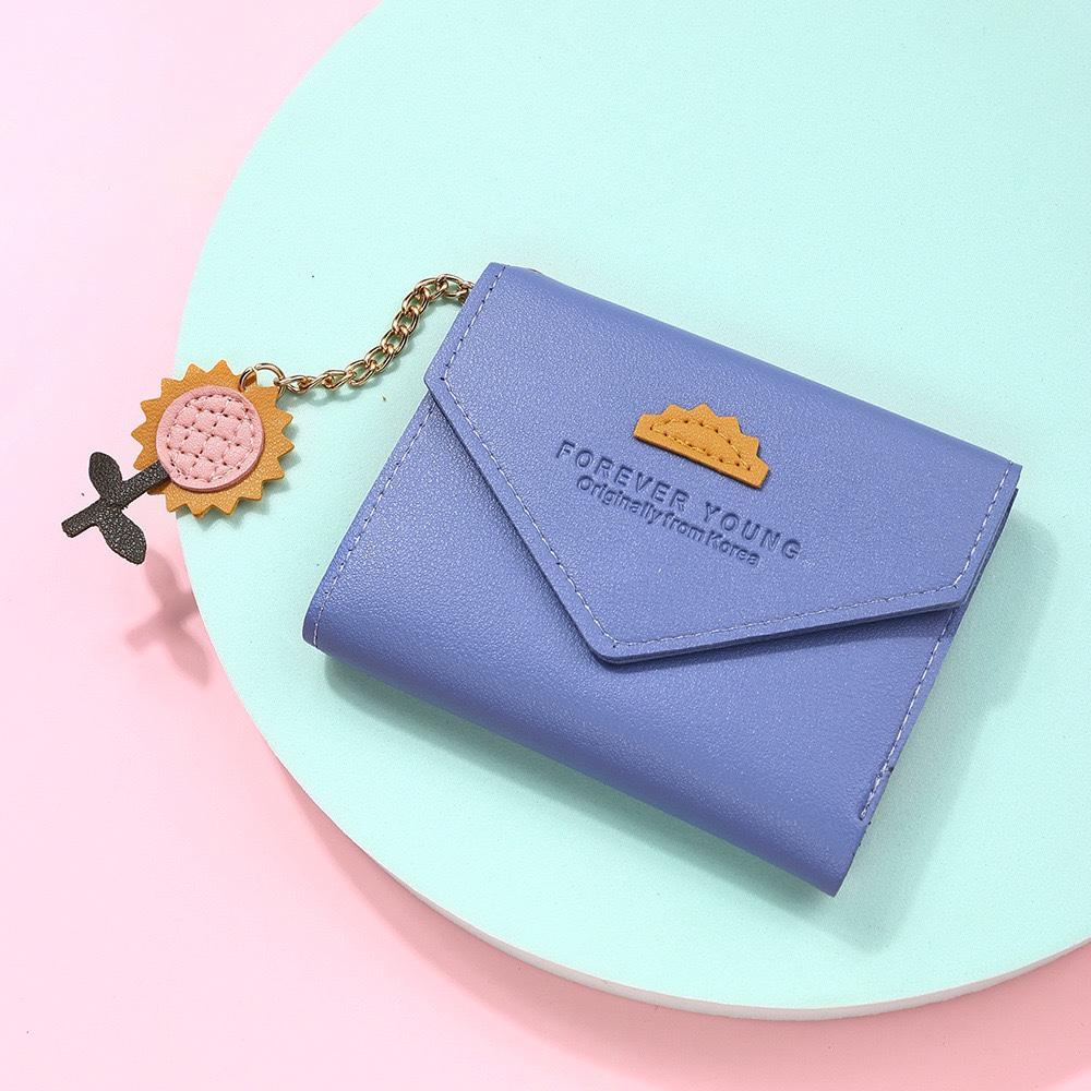 新款短款女式钱包休闲流苏吊坠多卡位卡包大容量三折零钱包