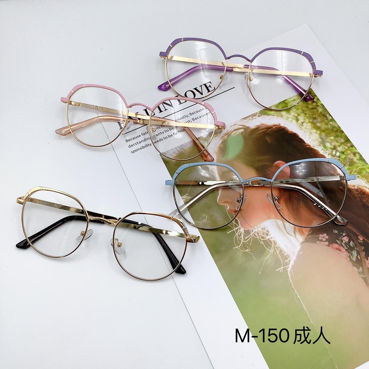 新款韩版时尚成人平光镜 圆框复古可配近视眼镜 M-150