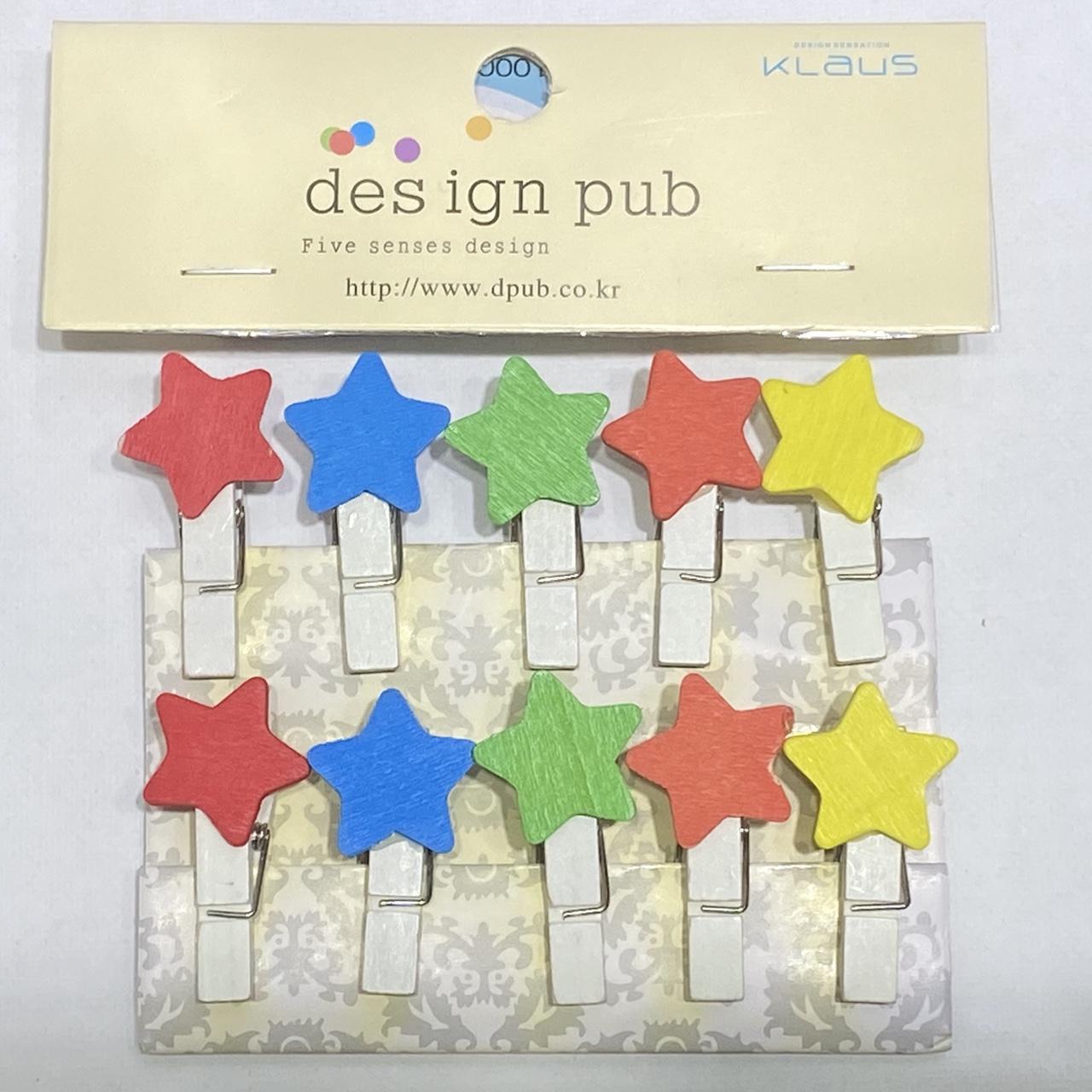 10个装彩色五角星⭐️木质小夹子小木夹家居日用照片夹卡通相片夹麻绳套装