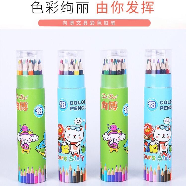 向博文具 厂家直销批发彩色铅笔桶装12色/18色/24色