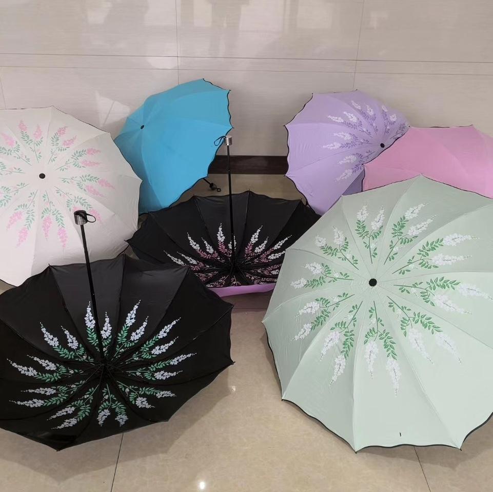 T1923黑胶内印刷三折商务伞晴雨伞折叠伞两用太阳伞遮阳伞防紫外线伞女士伞
