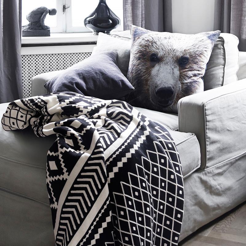 午睡毯全棉北欧亚马逊针织线毯blanket沙发搭毯摄影毛毯子130*180cm