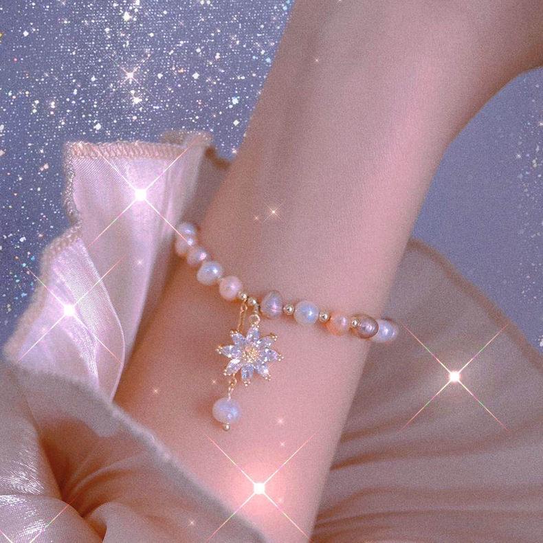 十里间香槟芒星多彩渐变色淡水花式珍珠手链轻奢小众精致珠子串珠