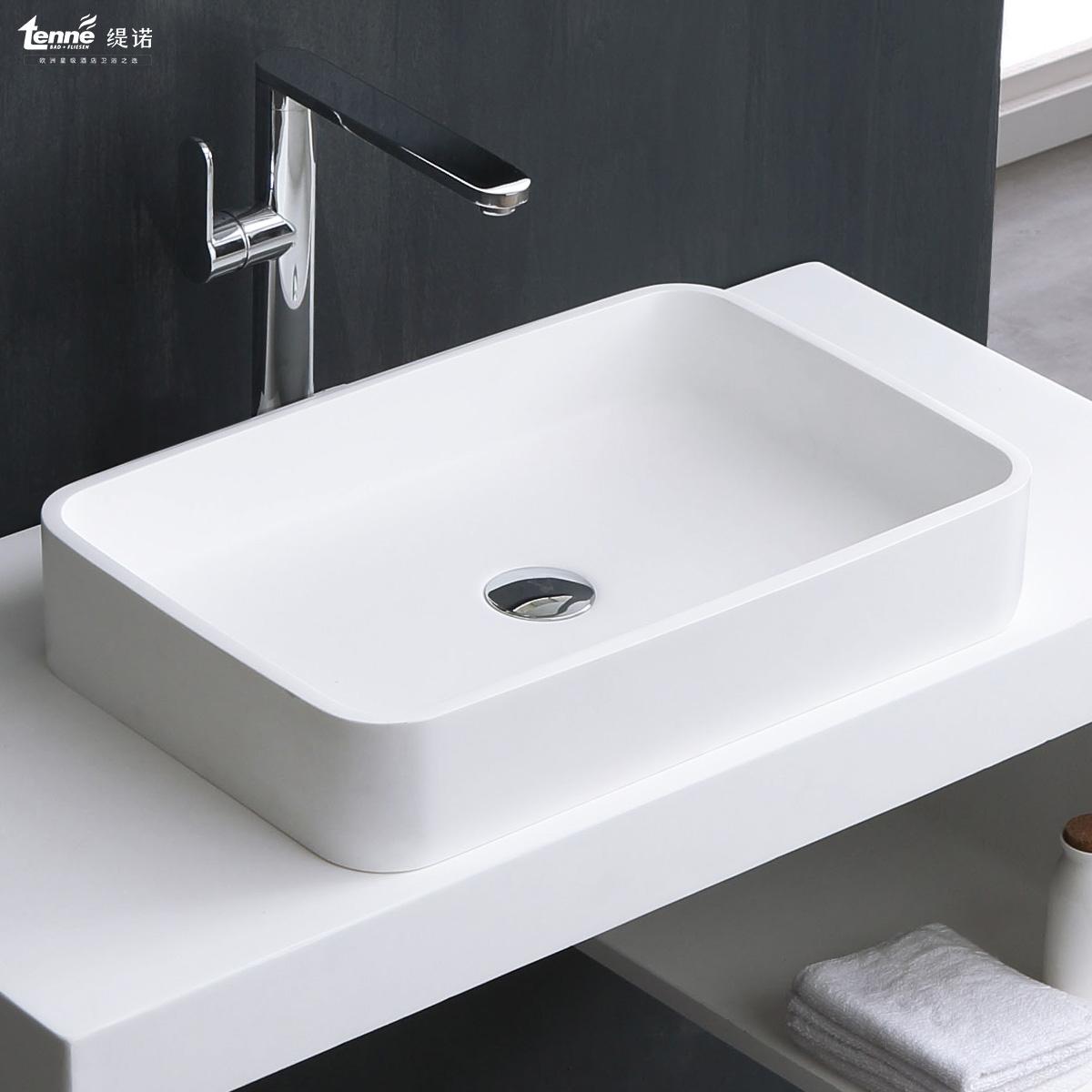 TENNE缇诺人造石台上盆酒店卫生间洗脸洗手盆创意薄边长方形面盆