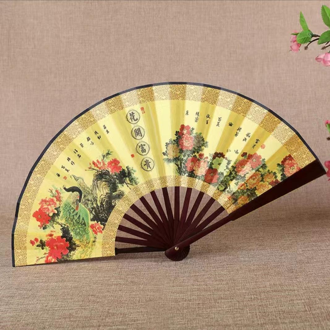 扇4718寸10寸折扇男中国风扇子绢扇折叠扇古风扇子空白绘画舞蹈日用礼品扇子