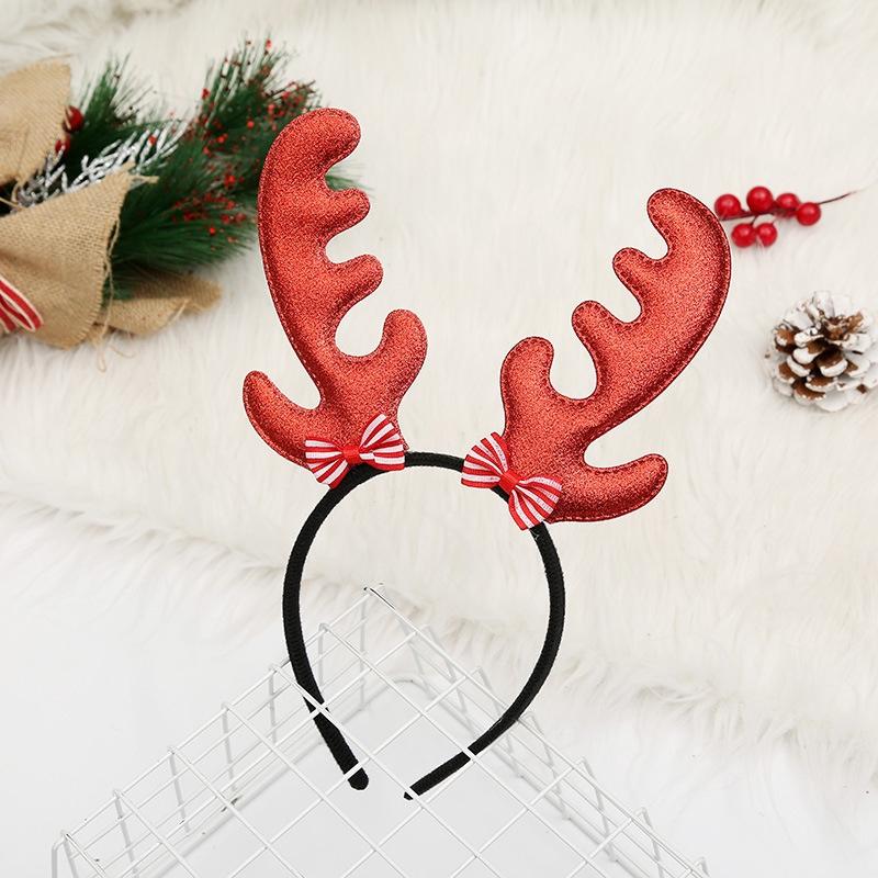 爆款热卖跨境亚马逊圣诞装饰品圣诞头箍头扣发饰圣诞节日装饰品Christmas hairband蝴蝶结红