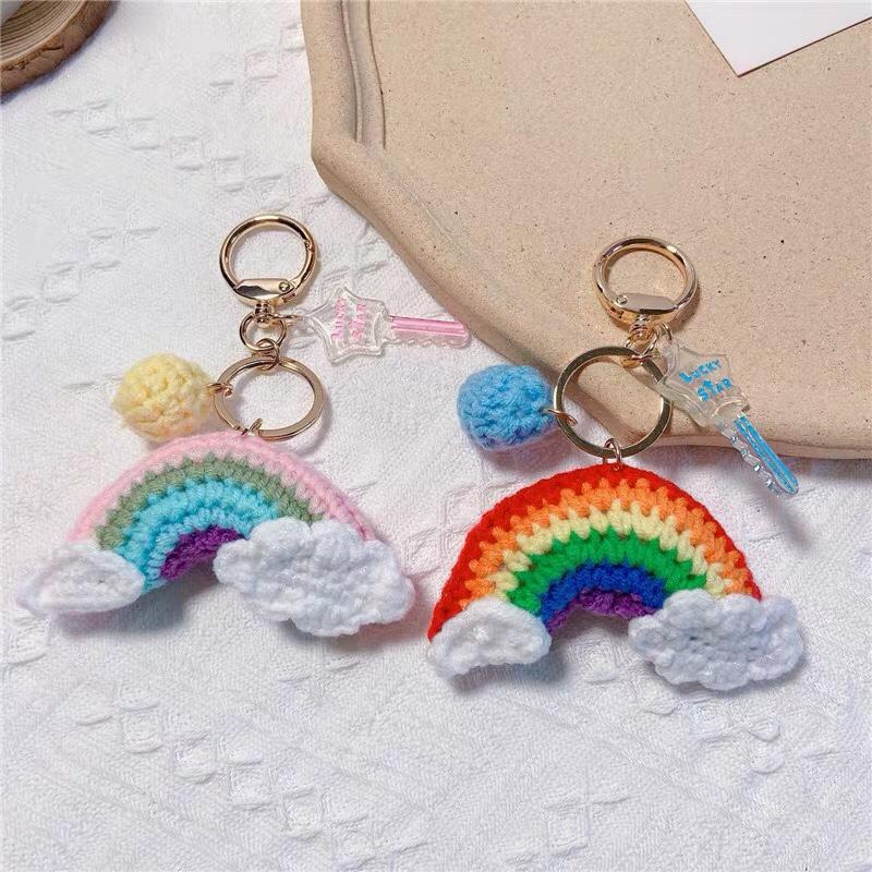 个性钥匙扣编织彩虹永生花礼品车用钥匙链创意网红包包挂件配饰女A