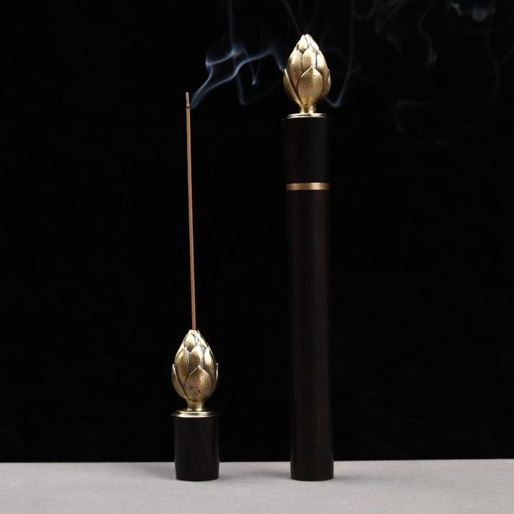 🔥新款——莲花香筒, 材质:紫光檀+铜 尺寸:两个规格,长,短