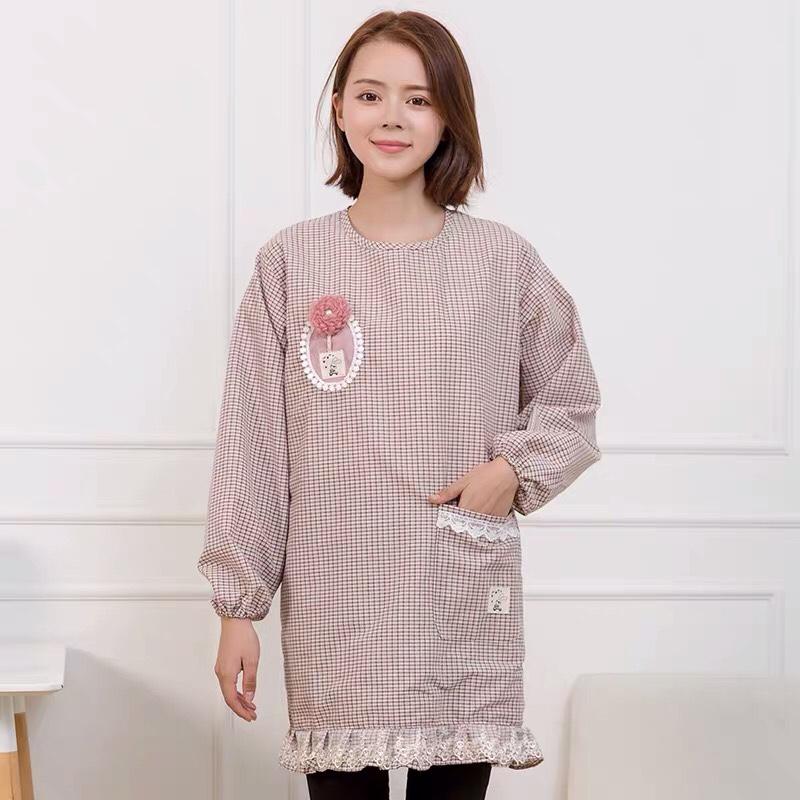 围裙长袖罩衣韩版时尚厨房带袖防油全包罩衣做饭围裙