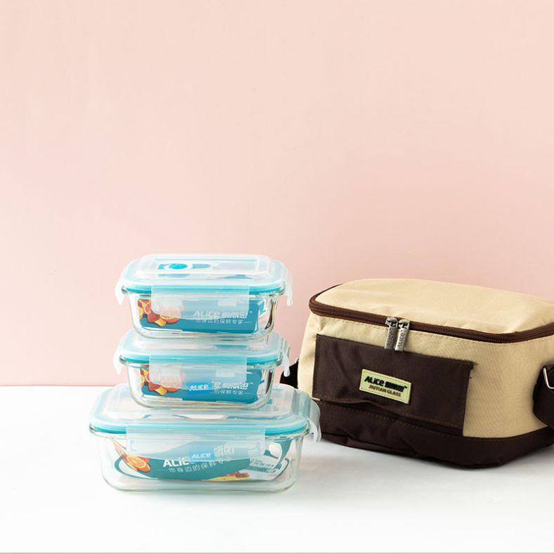 高硼硅玻璃保鲜盒冰箱微波炉玻璃饭盒保温便当盒餐具