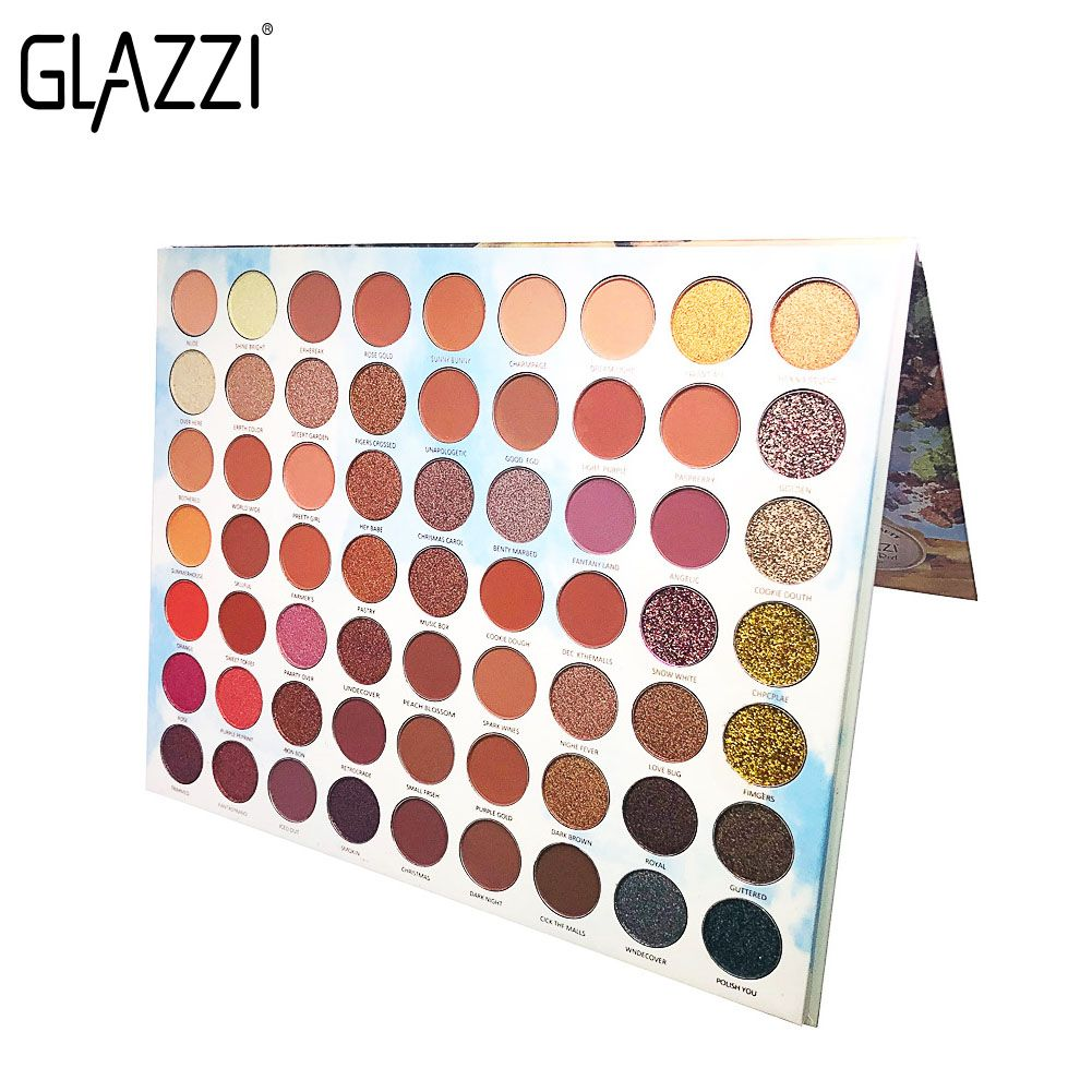 GLAZZI63色欧美超大眼影珠光哑光亮片金葱粉混合装眼影盘彩妆批发