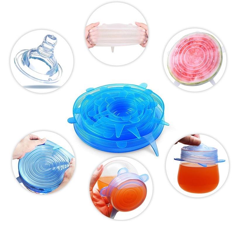 硅胶碗盖套装保鲜膜盖食物保鲜重复使用五个尺寸