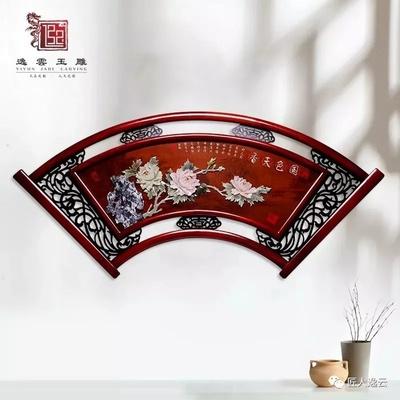 扇形70*152玉雕画 餐厅客厅装饰画 走廊 茶楼会所中式挂画