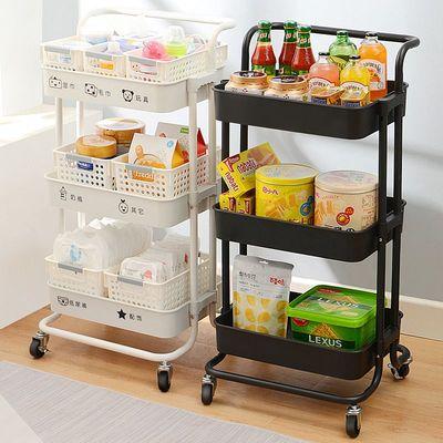 置物架小推车 移动简易厨房整理架子客厅收纳手推车 浴室推车