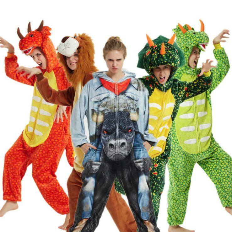 新款外贸出口南美恐龙三角龙狮子星空天马 卡通动物连体睡衣
