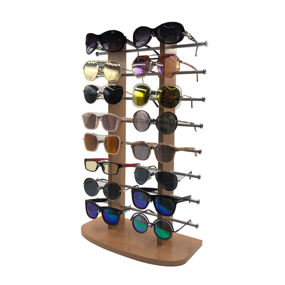16付浅木纹大间距台式太阳眼镜展示架B2020-2W