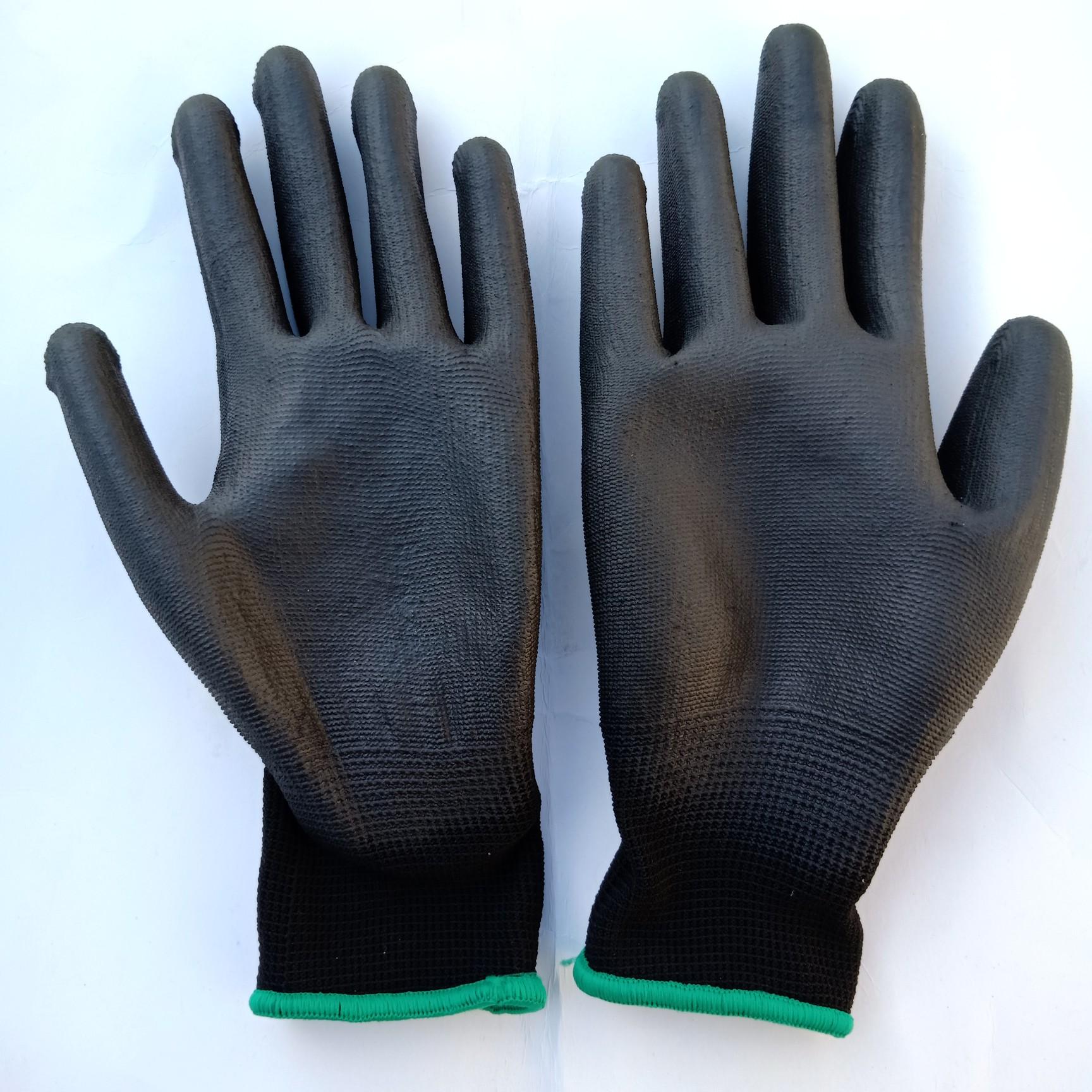 防静电黑色涂掌pu涂层防护手套