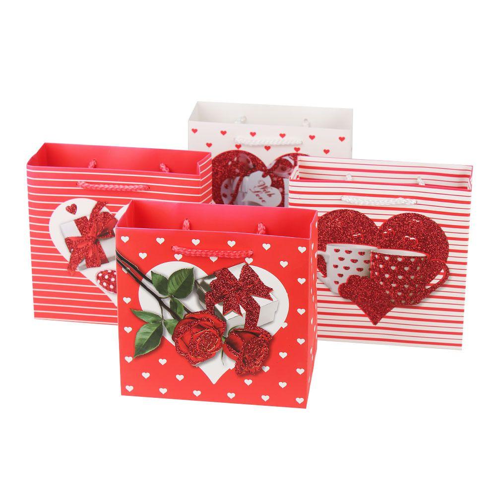 情人节浪漫撒粉玫瑰花爱心系列礼品袋白卡纸礼品袋手提袋批发
