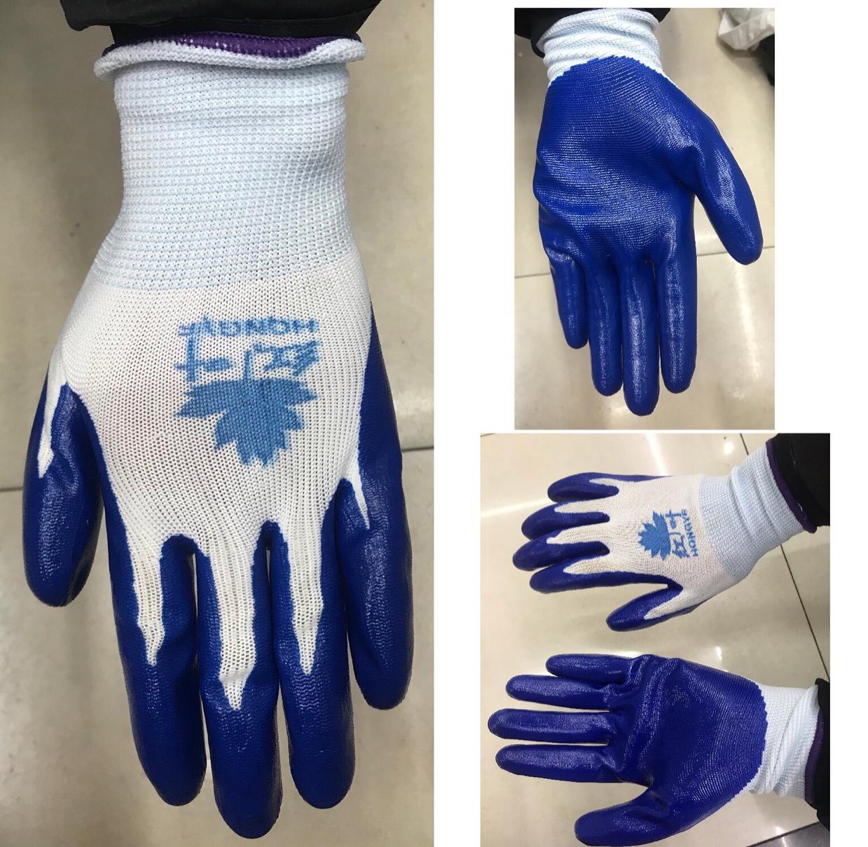 红叶蓝丁腈黑丁腈胶乳浸渍劳保舒适耐磨乳胶加厚工业手套