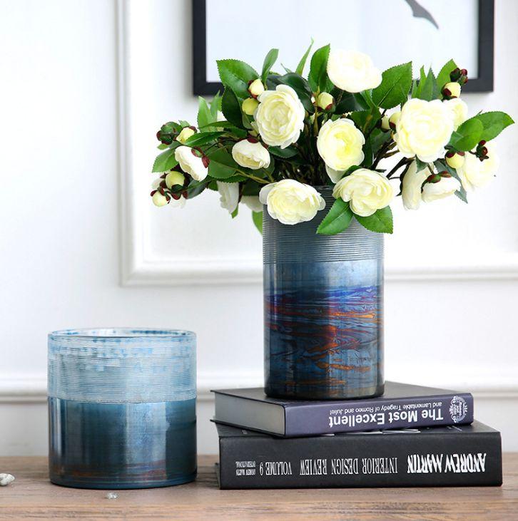 义乌好货 摆件客厅餐桌插花瓶美式乡村风格玻璃花瓶圆柱状花瓶