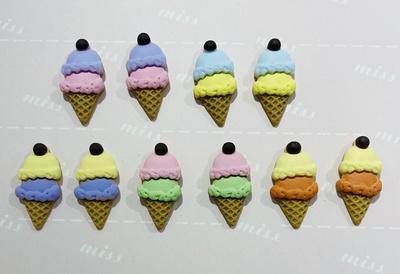 夏日清凉冰淇淋-DIY树脂贴片可爱鞋花,手机壳配件,纽扣,帽子,服装辅料,文具贴片,发饰,耳饰,项链,手链,戒指等饰品配件
