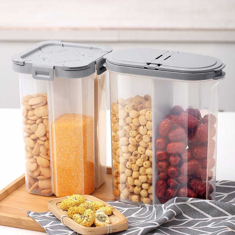 义乌好货 食品塑料透明储物盒带盖豆类密封罐五谷杂粮分格收纳盒