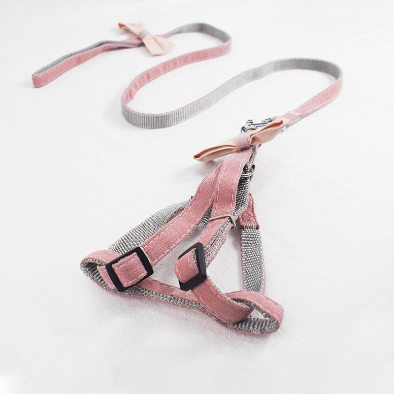 宠物牵引绳蝴蝶结可调节猫胸背 春季遛狗安全绳
