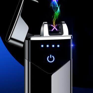 厂家直销智能usb充电触摸交叉双电弧金属防风电子打火机礼品定制跨境爆款
