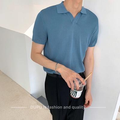 男装韩系Polo衫蓝色短袖