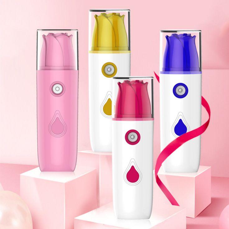 新款纳米玫瑰花补水仪手持雾化器便携可爱迷你小型脸部美容加湿器