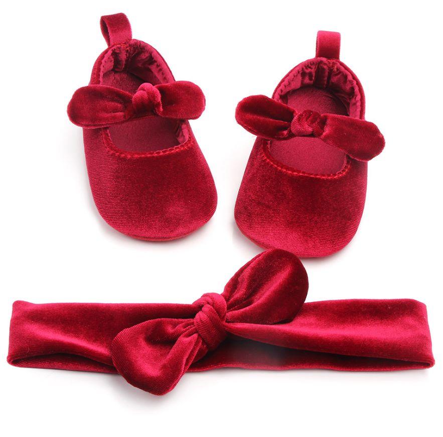 0-1岁蝴蝶结婴儿鞋宝宝鞋软底防滑学步鞋宝宝鞋发带