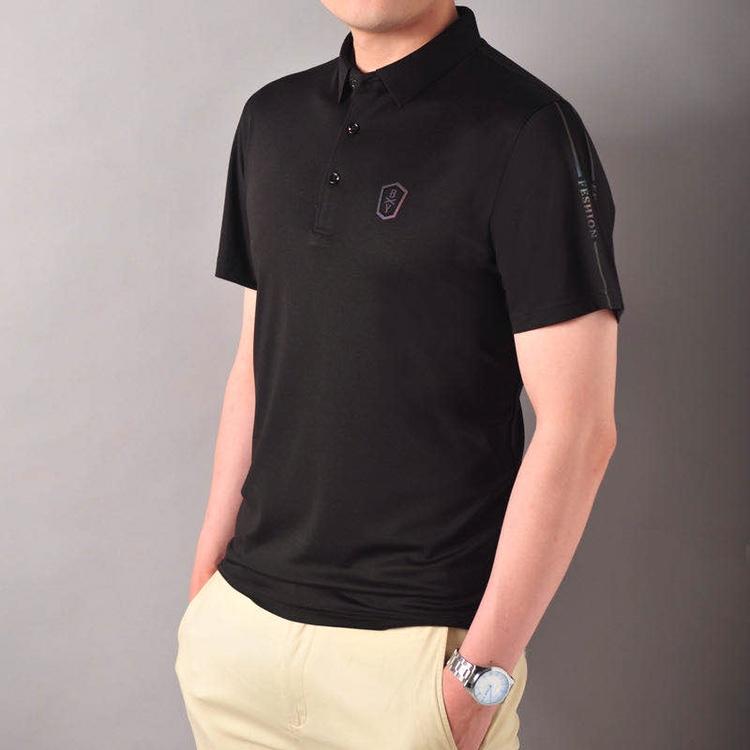 夏季潮流韩版衬衫领冰丝棉短袖POLO衫2020新款有带领短袖T恤男翻领衣服