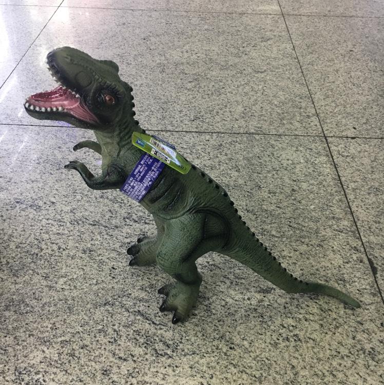 出口环保无味安全软胶充棉恐龙帝王霸王龙带声音灯光模型塑胶玩具仿真动物恐龙世纪超逼真儿童男孩女孩礼物