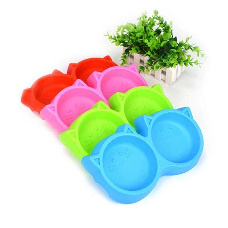 厂家直销优质彩色宠物双碗 猫脸防滑狗狗塑料碗 宠物狗狗用品批发
