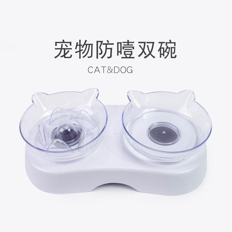 防噎猫咪双碗 透明塑料吃喝两用猫碗喂食器 宠物猫咪食具厂家批发