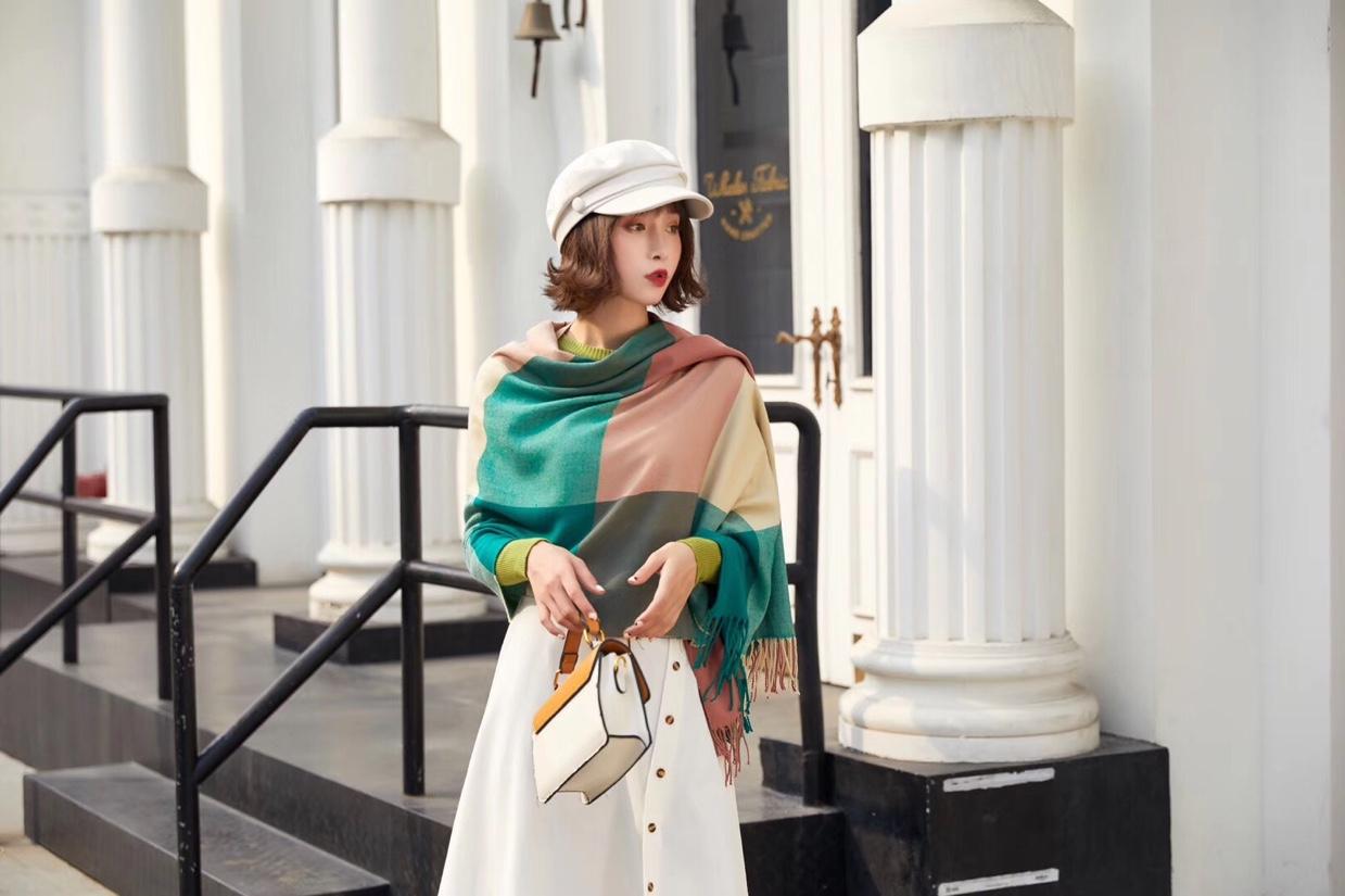 韩版梭织围巾方格子长巾新款冬款加厚披肩围巾保暖流须长巾围脖