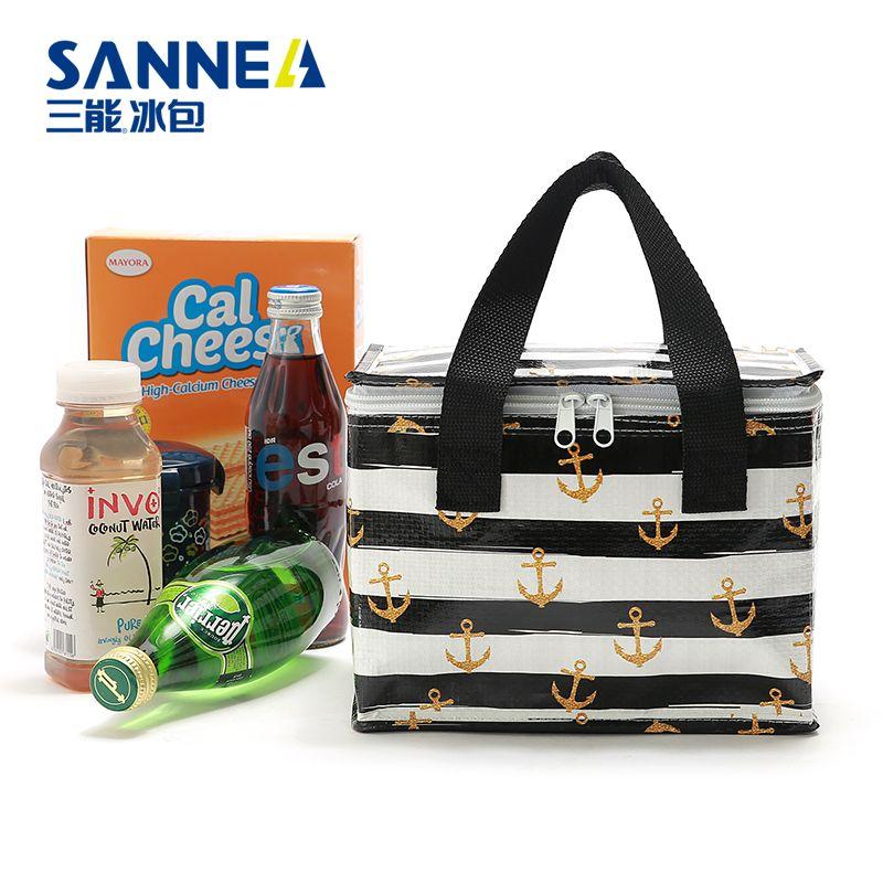 SANNE新款一次性野餐包手提 PP环保便当保温包防水保鲜冰包午餐包