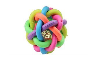 tpr宠物玩具七彩铃铛环编织交叉发光狗狗玩具球磨牙洁齿耐咬训练