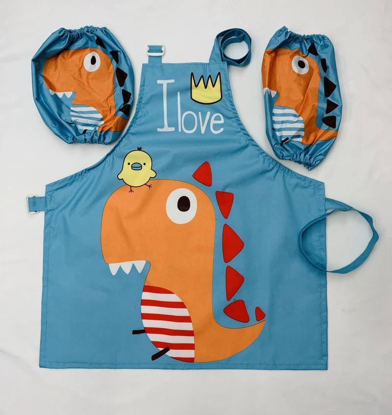 义乌好货儿童围裙画画罩衣带袖套防脏防水家用厨房宝宝吃饭衣无袖