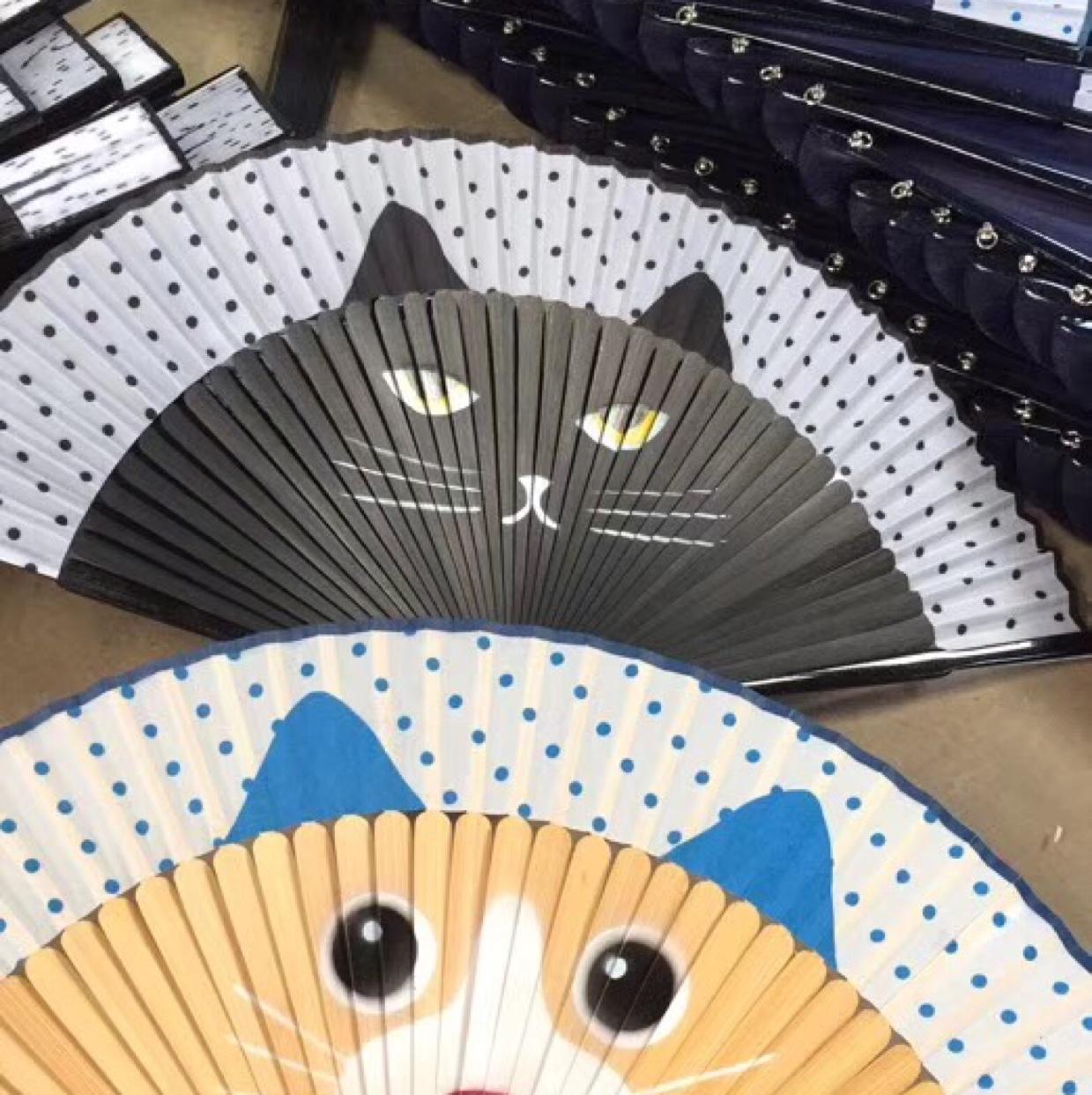 复古风汉服扇子女式随身喷绘折扇中国风夏季便携小巧流苏折扇