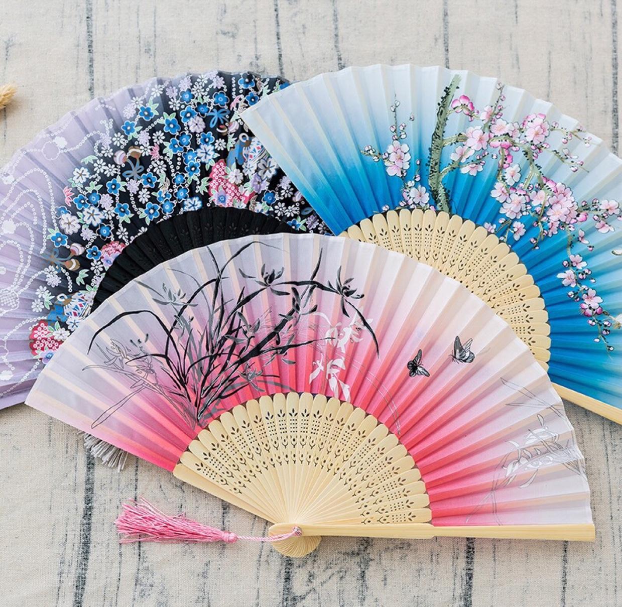扇子折扇中国风舞蹈扇女夏季折叠扇古装儿童小复古布古典古风折扇