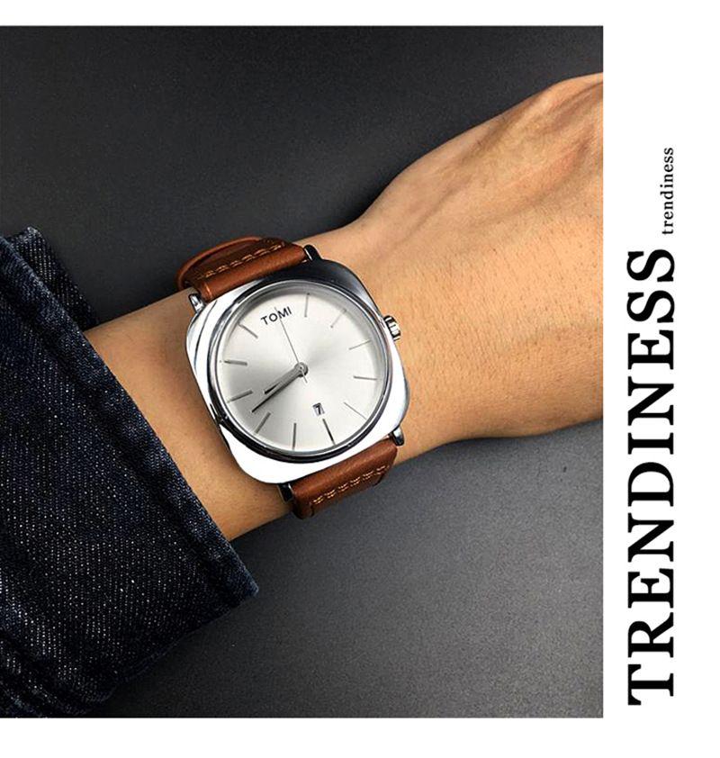 TOMI 新款方型日历表商务男士表时尚韩版时装表