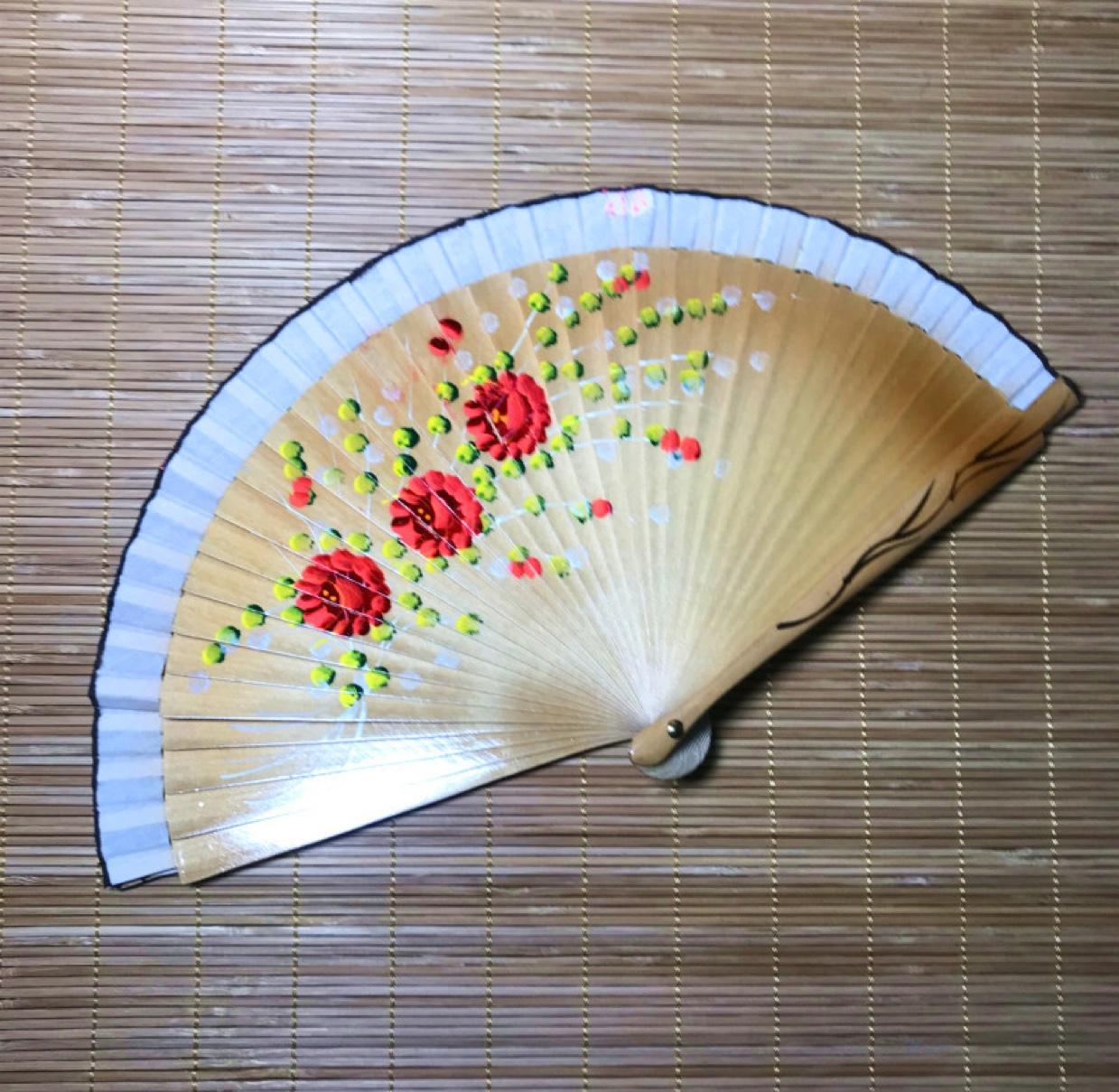 好开合双面西班牙木折扇中国风女扇手绘扇子旗袍走秀扇舞蹈扇木扇