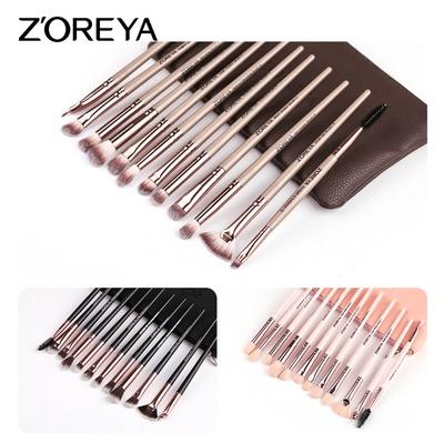 ZOREYA卓尔雅12支礼品化妆刷工具套装黑色人造纤维眼影化妆刷套装