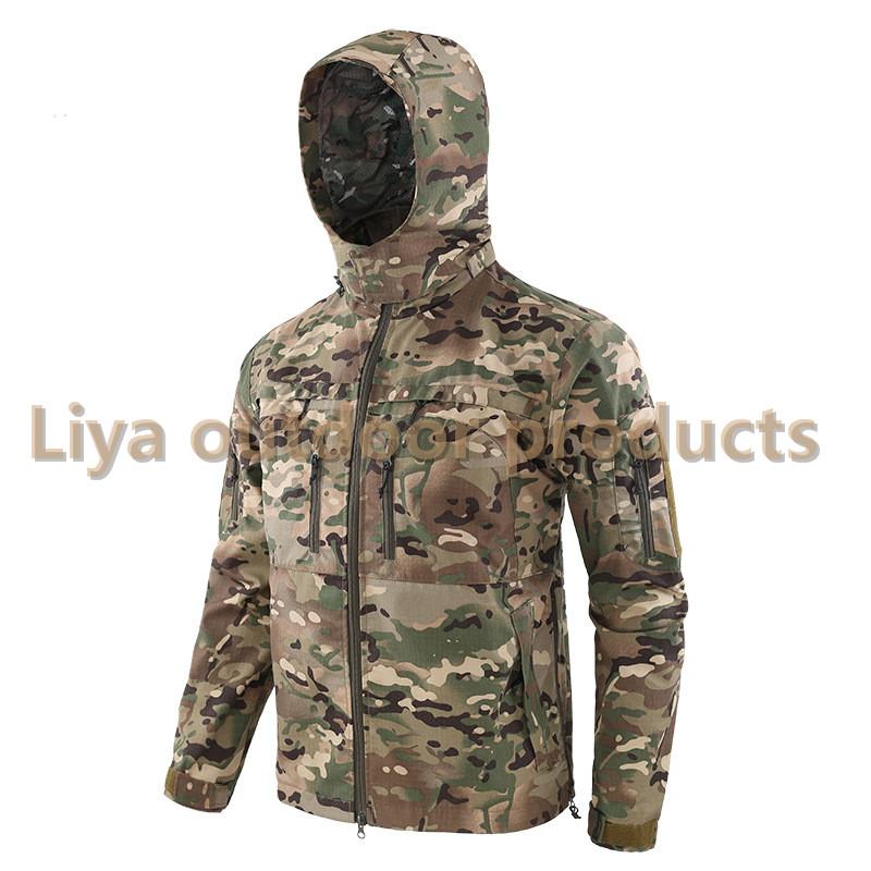 户外战术秋冬迷彩风衣夹克外套骑行运动登山野营休闲夹克外套